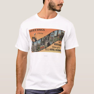 Annapolis, Maryland - Large Letter Scenes T-Shirt