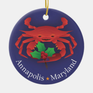 Annapolis Maryland Skyline & Crab with Holly Christmas Ornament
