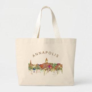 Annapolis Maryland Skyline SG - Faded Glory Large Tote Bag