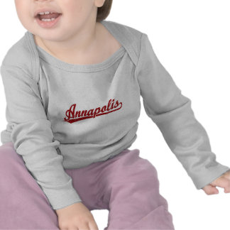 Annapolis script logo in red tee shirts