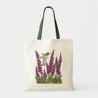 Anna's Hummingbird and Foxglove Tote Bag
