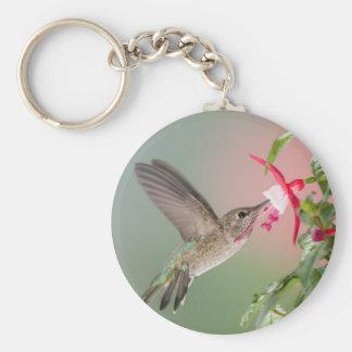 Anna's Hummingbird and Fuschia Keychain