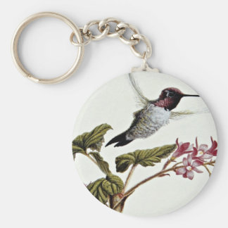 Anna's hummingbird  flowers key ring