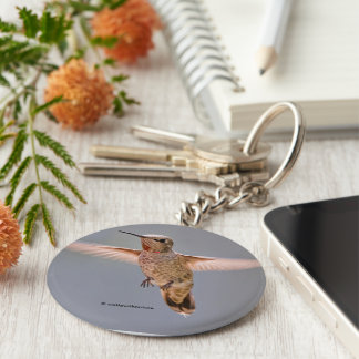 Anna's Hummingbird Hovers in Place Key Ring
