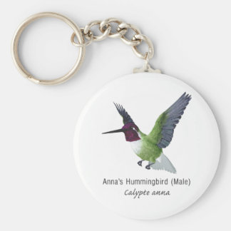 Anna's Hummingbird Male with Name Keychains