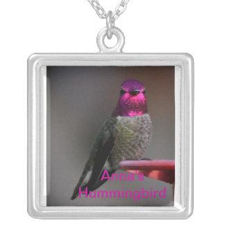 Anna's Hummingbird Square Pendant Necklace