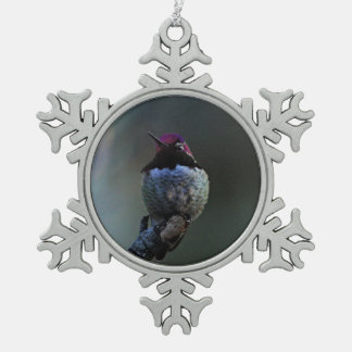 Anna's Hummingbird Snowflake Pewter Christmas Ornament