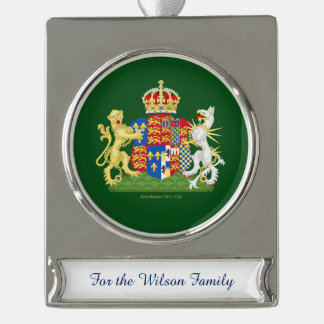 Anne Boleyn Coat of Arms Silver Plated Banner Ornament