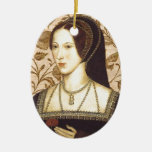 Anne Boleyn Double-Sided Oval Ceramic Christmas Ornament