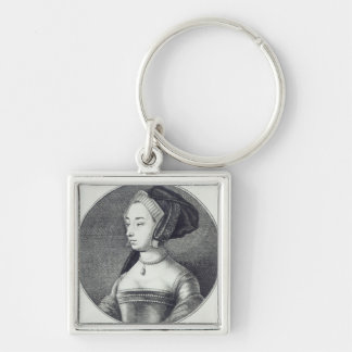 Anne Boleyn, etched by Wenceslaus Hollar, 1649 Silver-Colored Square Key Ring