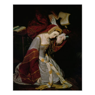 Anne Boleyn  in the Tower, detail, 1835 Poster