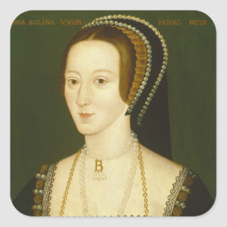 Anne Boleyn Second Wife of Henry VIII Portrait Square Stickers