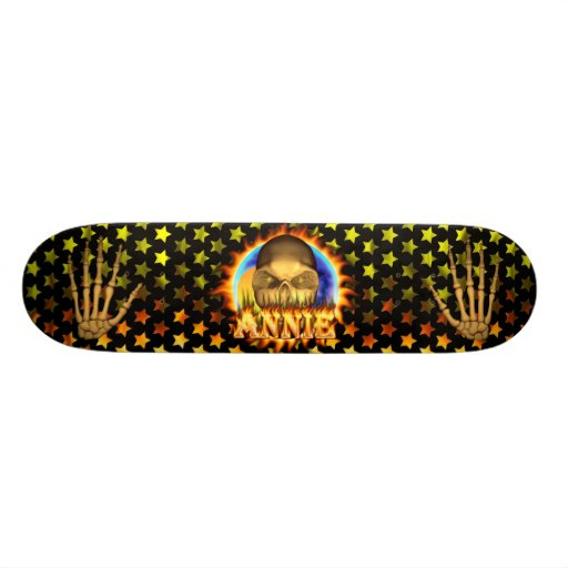 Annie skull real fire and flames skateboard design