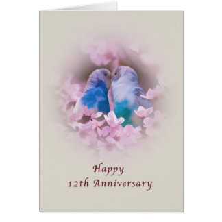 Anniversary, 12th, Loving Parakeets, Pink Flowers Card