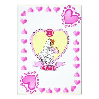 Anniversary - 13 Lace 13 Cm X 18 Cm Invitation Card