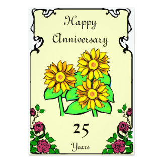 "Anniversary - 15th 5"" x 7"" invitation card"