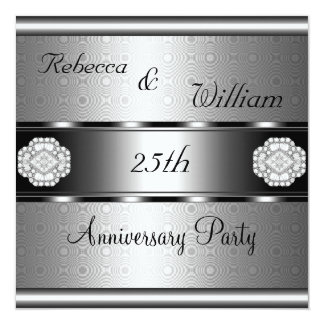 Anniversary 25th Elegant Roll Silver Party Card