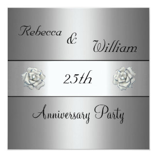 Anniversary 25th Elegant Silver Rose Party Card