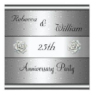 Anniversary 25th Elegant Silver Rose Party 13 Cm X 13 Cm Square Invitation Card