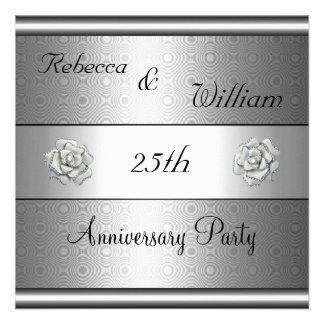 Anniversary 25th Elegant Silver Rose Party Invite