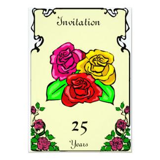 Anniversary -3 roses  - Customizable 5x7 Paper Invitation Card
