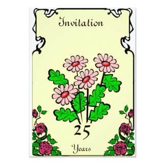 "Anniversary -"" 4 daisies  - Customizable 13 Cm X 18 Cm Invitation Card"