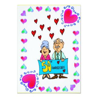 Anniversary - 50th Gold 13 Cm X 18 Cm Invitation Card