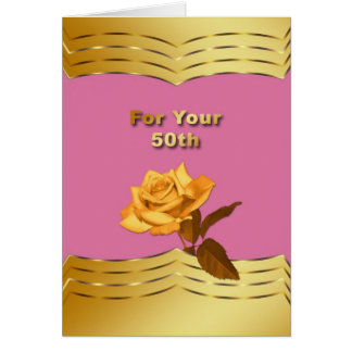 Anniversary 50th Wedding Golden Rose Card