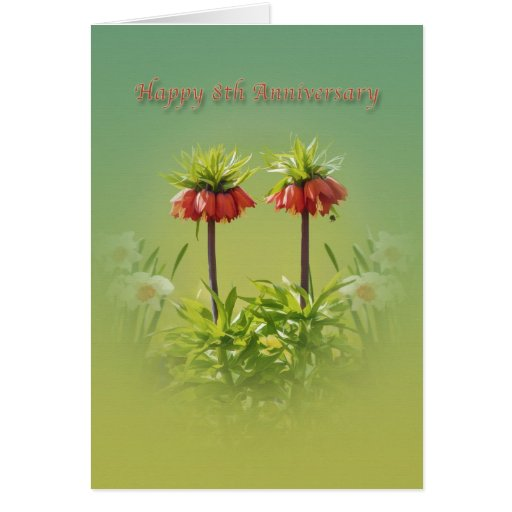 Anniversary, 8th, Red Rubra Tulips Greeting Card