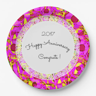 Anniversary_Birthday_Mod+Floral_Lace-Template 9 Inch Paper Plate