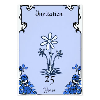 "Anniversary -"" blue  - Customizable 5"" X 7"" Invitation Card"