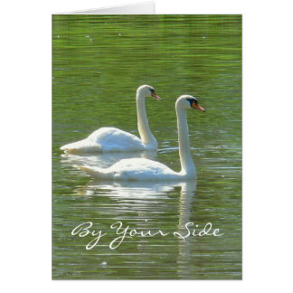 """ANNIVERSARY ,""""BY YOUR SIDE"""", TWO WHITE SWANS, GREETING CARD"""