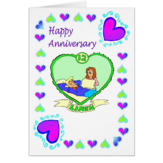 Anniversary card 12th linen anniversary