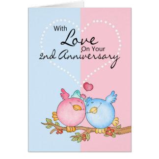 anniversary card - 2nd anniversary love birds