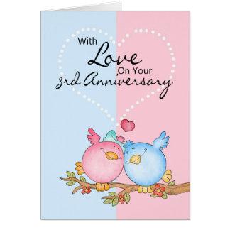 anniversary card - 3rd anniversary love birds