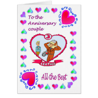 Anniversary card - 3rd leather