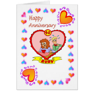 Anniversary card 40th Ruby