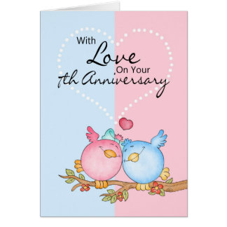 anniversary card - 7th anniversary love birds