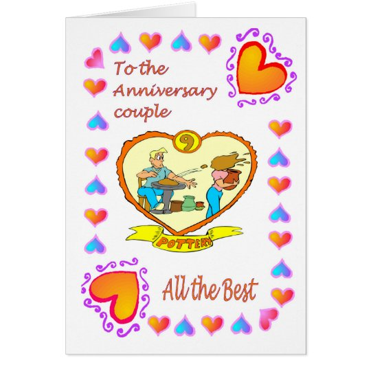 Anniversary card 9th pottery