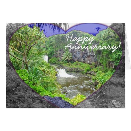 Anniversary Card Tropical Hawaiian Waterfalls