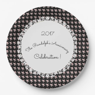 Anniversary-Celebration_Template(c)OldVintage-Rose 9 Inch Paper Plate