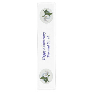 Anniversary Custom Name and Calla Lily Short Table Runner