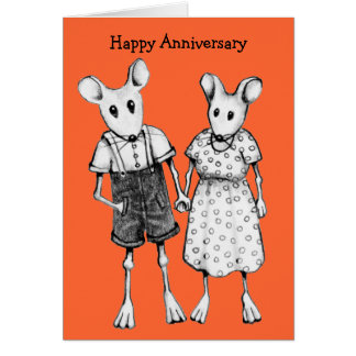 Anniversary: Cute Mouse Couple In Pencil Greeting Card