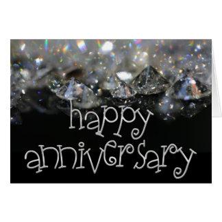 Anniversary Elegant Black Silver Shiny Diamonds Card