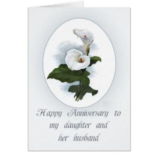 Anniversary for Daughter, Elegant Calla Lilies Card