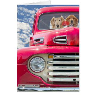 Anniversary-Golden Retrievers in vintage truck Greeting Card