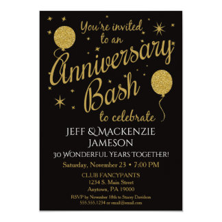 Anniversary Invitation Festive Party Gold Balloons