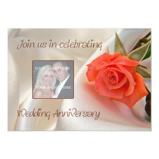Anniversary invitation with a red rose of love