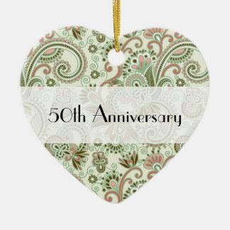 Anniversary - Iranian Paisley, Swirls - Green Pink Ceramic Heart Decoration