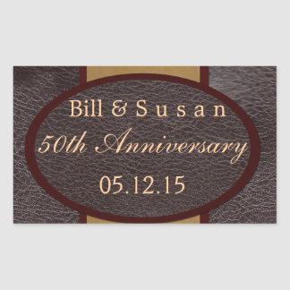 Anniversary leather and plaque tan label rectangular sticker